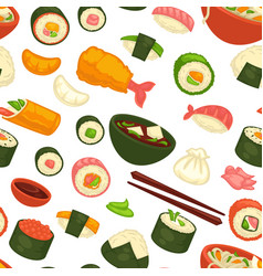 Japanese national cuisine dishes and meal seamless vector