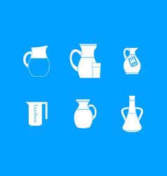 Jug icon blue set vector
