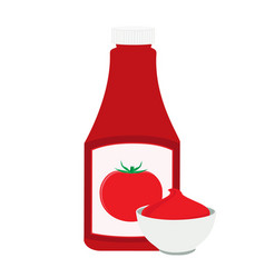 ketchup bottle and tomato ketchup in a bowl vector image