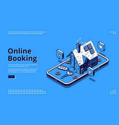 Landing page online booking hotel or house vector