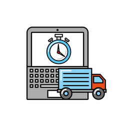 laptop truck clock time online shopping logistic vector image