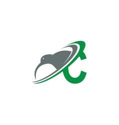 Letter c with kiwi bird logo icon design vector