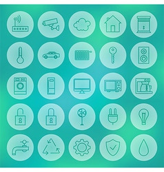 Line Circle Smart House Icons Set vector