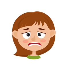 Little girl upset face expression isolated on vector