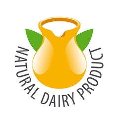 logo earthenware jug with milk vector image