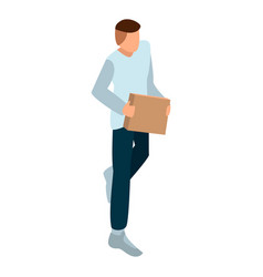 man with carton box icon isometric style vector image