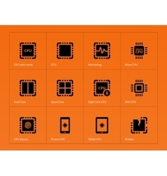 Microprocessor icons on orange background vector