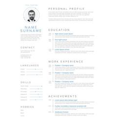 Minimalist resume cv template vector