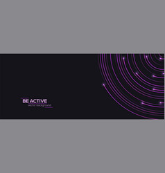 modern banner with radial moving lines and glow on vector image