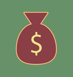 Money bag sign cordovan icon vector
