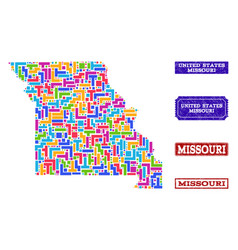 Mosaic map of missouri state and scratched seals vector