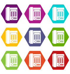 office business keypad phone icon set color vector image