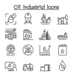 oil icon set in thin line style vector image