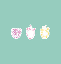 one line art style raspberries abstract food vector image