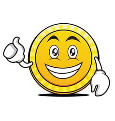 Optimistic coin cartoon character style vector
