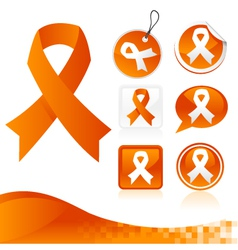 Orange Awareness Ribbons Kit vector image