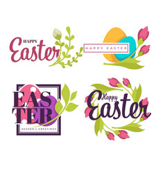 painted eggs and green branch easter holiday vector image