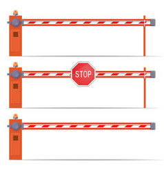 Parking car barrier gate set vector