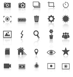 Photography icons with reflect on white background vector image
