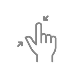 Pinch with two fingers line icon touch screen vector