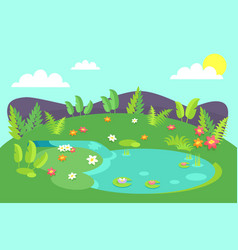 pond with tropical bushes and green leaves flowers vector image