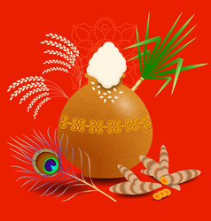 Pongal hindu harvest festival in india and sri vector