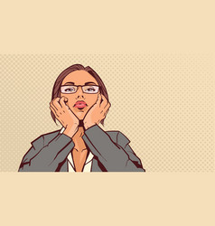 Portrait attractive business woman holding head vector