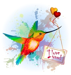 Rainbow humming-bird with Valentines Card vector