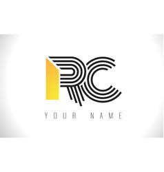 Rc black lines letter logo creative line letters vector