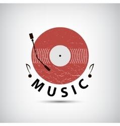 Retro vinyl music logo icon vector