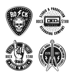 rock n roll music vintage emblems labels badges vector image