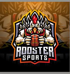 Rooster sports esport mascot logo design vector