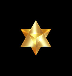 sacred geometry 3d gold merkaba esoteric vector image