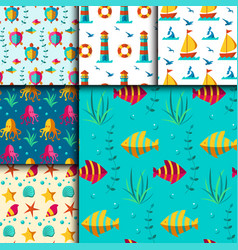 Seamless patterns with nautical elements vector