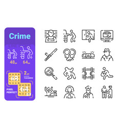 Set crime simple lines icons equipment for vector