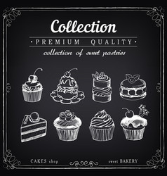 set hand-drawn icons pastries collection of vector image