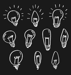 Set light bulbs cartoon doodle icon symbol of vector