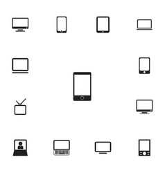 set of 13 editable gadget icons includes symbols vector image