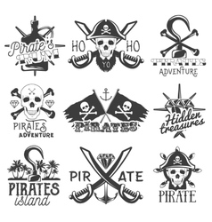 set pirates logos emblems badges vector image