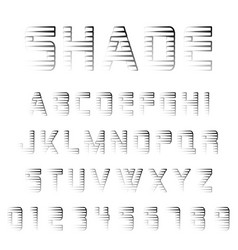 shade alphabet font template vector image