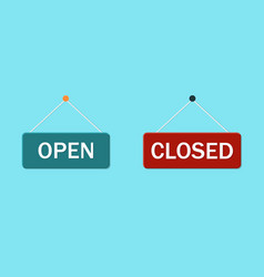 Signage close and open hang notice on office vector