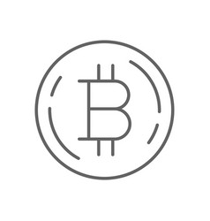 simple bitcoin thin line symbol icon design vector image