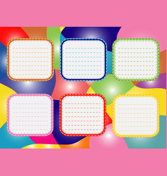 Six-day timetable on a multi-colored background vector
