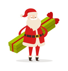 Standing santa with long gift on white background vector
