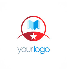 Star open book education logo vector