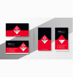stylish red and black business card design vector image