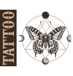 tattoo studio banner with butterfly geometrymoon vector image