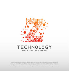 Technology logo with initial z letter network vector