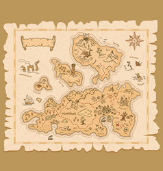Treasure map old paper pirate island adventure vector