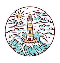 views lighthouse and waves vector image